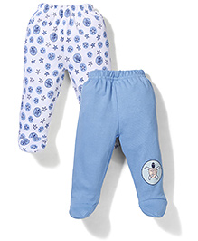 Babyhug Solid Color & Star Print Set Of 2 Booties Leggings - White & Blue
