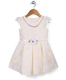 Babyhug Cap Sleeves Party Frock Self Design And Pearl Detail - Cream