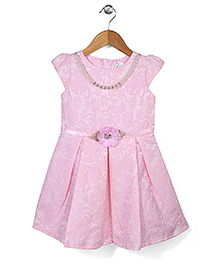 Babyhug Cap Sleeves Party Frock Self Design And Pearl Detail - Pink