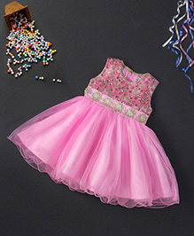 Babyhug Sleeveless Party Frock Flower Embellishment - Pink