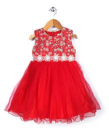 Babyhug Sleeveless Party Frock Flower Embellishment - Red