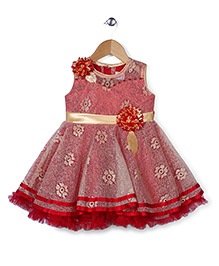 Babyhug Party Wear Frock Floral Embellishment - Red