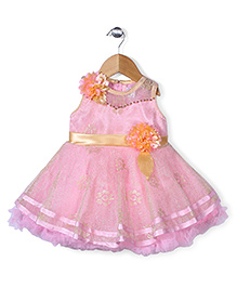Babyhug Party Wear Frock Floral Embellishment - Pink