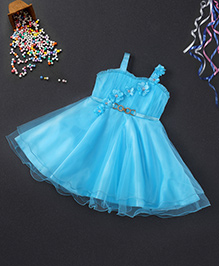 Babyhug Singlet Party Wear Frock With Floral Applique - Aqua