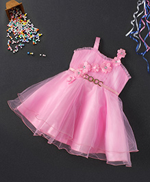 Babyhug Singlet Party Wear Frock With Floral Applique - Pink