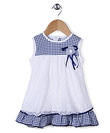 Babyhug Sleeveless Frock Floral Applique - White And Blue
