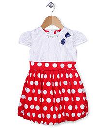 Babyhug Cap Sleeves Frock Polka Dots Print - Red And White