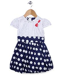 Babyhug Cap Sleeves Frock Polka Dots Print - Navy And White