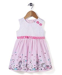 Babyhug Sleeveless Frock Bow Applique - Pink White