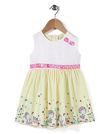 Babyhug Sleeveless Frock Bow Applique - Light Yellow White