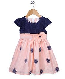 Babyhug Cap Sleeves Frock Bow Applique - Peach