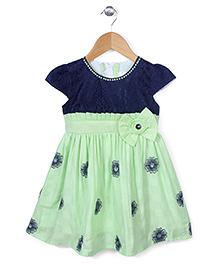 Babyhug Cap Sleeves Frock Bow Applique - Green