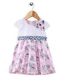Babyhug Short Sleeves Frock Floral Applique - Pink