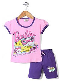 Barbie Top and Cycling Shorts Set Princess Power Print - Pink Purple