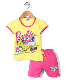 Barbie Top and Cycling Shorts Set Princess Power Print - Yellow Pink