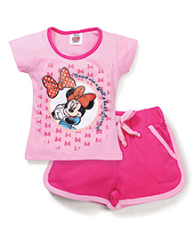 Barbie Half Sleeves Top and Shorts Set Minnie Mouse Print - Pink