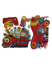 Happykids 3D Wall Stickers - Plane And Train