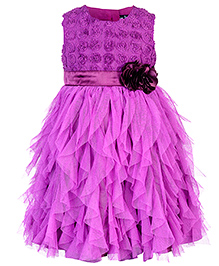 Toy Balloon Sleeveless Water Fall Dress Floral Applique - Violet