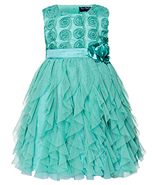 Toy Balloon Sleeveless Water Fall Dress Floral Applique - Sea Green