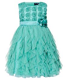 Toy Balloon Sleeveless Water Fall Dress Floral Applique - Sea Green