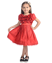 Toy Balloon Half Sleeves Rose Applique Party Dress - Red