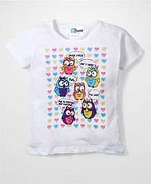 Eteenz Half Sleeves Top Owls Print - White