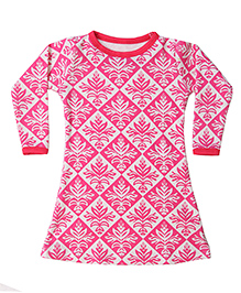 Earth Conscious Full Sleeves Frock Floral Print - Pink and White
