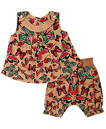 Earth Conscious Top and Pant Set Butterfly Print - Brown