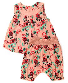 Earth Conscious Top and Pant Set Floral Print - Peach