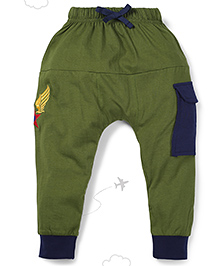 Flight Deck by Babyhug Parachute Pants Star Embroidery - Green