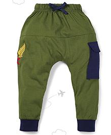 Flight Deck by Babyhug Parachute Pants Star Embroidery - Green