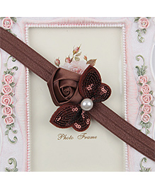 Pikaboo Headband Sequin Bow Applique - Brown