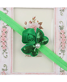 Pikaboo Headband Sequin Bow Applique - Green
