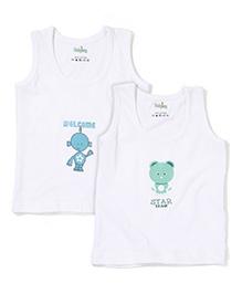 Babyhug Sleeveless Vest Multi Print - White