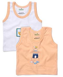 Babyhug Sleeveless Pack Of 2 Vests With Multi Print - White & Orange