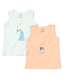 Babyhug Sleeveless Vest Pack Of 2 - Peach & Green