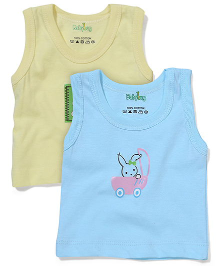 Babyhug Sleeveless Vest Pack Of 2 - Light Yellow & Blue