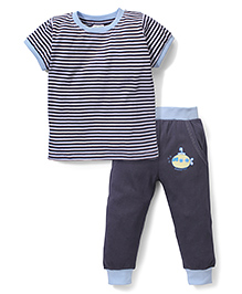 Babyhug Half Sleeves Striped T-Shirt & Pajama With Submarine Print - Blue & Grey