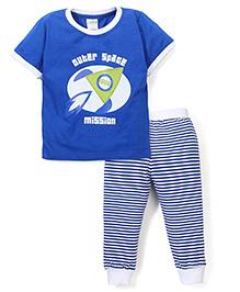 Babyhug Half Sleeves Striped T-Shirt & Pajama With Submarine Print - Royal Blue & White