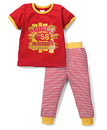 Babyhug Half Sleeves 56 Printed Top & Striped Track Pant Set - Red & Yellow
