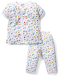 Babyhug Half Sleeves Night Suit Allover Animal Print - White