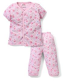 Babyhug Half Sleeves Night Suit Allover Bear Print - Light Pink