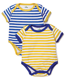 Babyhug Striped Pack Of 2 Onesies - Yellow & Blue
