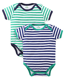 Babyhug Short Sleeves Striped Onesies Pack of 2 - Green Navy White