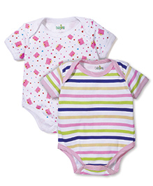Babyhug Half Sleeves Striped And Printed Pack Of 2 Onesies - White & Pink