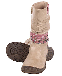 Cutecumber High Ankle Length Partywear Boots - Beige