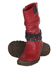 Cutecumber High Ankle Length Partywear Boots - Red