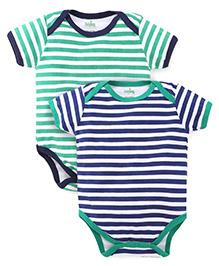Babyhug Short Sleeves Striped Onesies Pack of 2 - Green Navy White