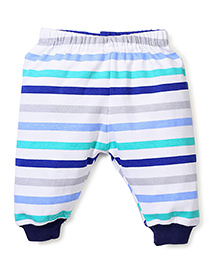 Babyhug Leggings Stripes Print - White and Blue