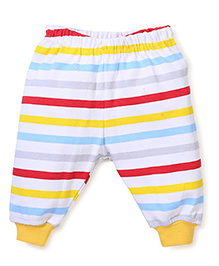 Babyhug Leggings Stripes Print - White and Yellow